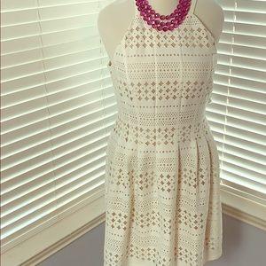 White Eliza J dress 16 NWOT mesh inlays